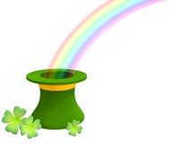 El arco iris que crece de un sombrero verde 3d Fotografía de archivo