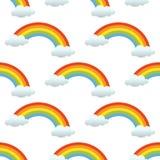 El arco iris se nubla el modelo inconsútil en blanco ilustración del vector