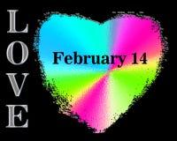 El arco iris vibrante coloreó el corazón de la tarjeta del día de San Valentín en fondo negro Las palabras AMOR y 14 de febrero Imágenes de archivo libres de regalías