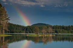 El arco iris y los árboles Foto de archivo libre de regalías