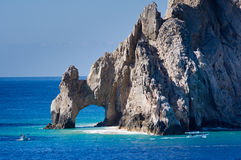 El Arco rock formation with boats Royalty Free Stock Images