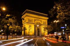El arco triunfal en la noche 11 de octubre 2015 Imagen de archivo