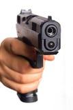 El arma de la mano señaló en usted Fotos de archivo libres de regalías