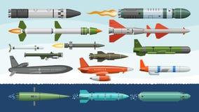 El arma militar del cohete del missilery del vector del misil y el ejemplo balístico de la bomba nuclear fijaron militar del cohe libre illustration