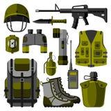 El arma militar dispara contra el ejemplo del vector de los símbolos libre illustration