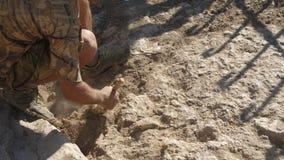 El arqueólogo despeja el hallazgo antiguo con un cepillo del polvo almacen de metraje de vídeo