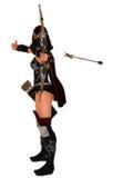 El arquero de sexo femenino enmascarado del asesino suelta la flecha Imagenes de archivo