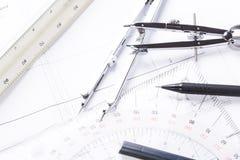El arquitecto blueprints el lugar de trabajo de los objetos del equipo Fotografía de archivo libre de regalías