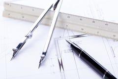 El arquitecto blueprints el lugar de trabajo de los objetos del equipo imagen de archivo