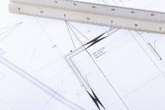 El arquitecto blueprints el lugar de trabajo de los objetos del equipo foto de archivo