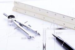 El arquitecto blueprints el lugar de trabajo de los objetos del equipo imagenes de archivo