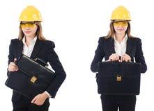 El arquitecto de sexo femenino con el bolso aislado en blanco foto de archivo