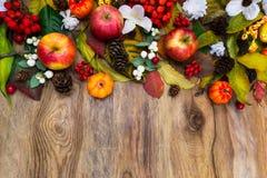 El arreglo de la acción de gracias con las calabazas, manzanas, hojas, serbal sea Imágenes de archivo libres de regalías