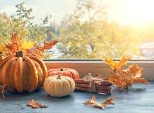 El arreglo del otoño con las calabazas y el amarillo se va por la ventana Foto de archivo libre de regalías
