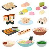 El arroz asiático del sushi japonés de la comida con el sistema tradicional del icono de la comida de los pescados y los mariscos Imagenes de archivo
