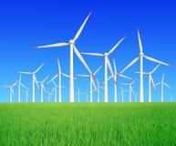 El arroz cultiva las turbinas de viento modernas Imagen de archivo libre de regalías