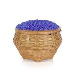 El arroz del jazmín cubrió con la hierba del guisante de mariposa en cesta en b blanco Fotos de archivo