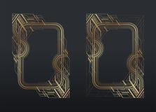 El art déco del oro enmarca el sistema en fondo gris oscuro libre illustration