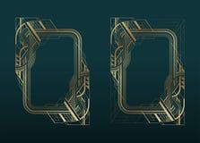 El art déco del oro enmarca el sistema en fondo oscuro de la turquesa ilustración del vector