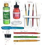 El arte de la acuarela suministra los cepillos, el clip de papel, los lápices, la tinta de acrílico y la pintura, lavadora del ce stock de ilustración