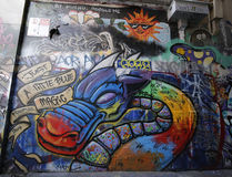 El arte de la calle es uno de la atracción turística principal en Melbourne Foto de archivo libre de regalías