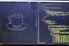 El arte del ASCII de la taza de la bebida y el HTML cifran a un lado Foto de archivo