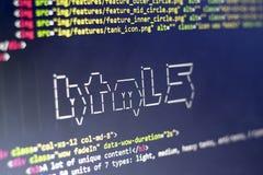 El arte del ASCII del nombre de la tecnología del HTML y el HTML real cifran a un lado Fotos de archivo