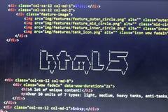 El arte del ASCII del nombre de la tecnología del HTML y el HTML real cifran a un lado Imagen de archivo