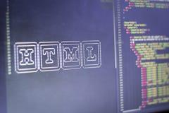 El arte del ASCII del nombre de la tecnología del HTML y el HTML real cifran a un lado Imagenes de archivo