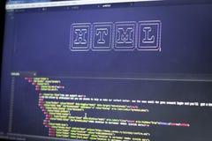 El arte del ASCII del nombre de la tecnología del HTML y el HTML real cifran a un lado Fotografía de archivo