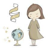 El arte del ejemplo de la muchacha y del globo vector el elemento geométrico franco del texto del color del navegador del estudia stock de ilustración