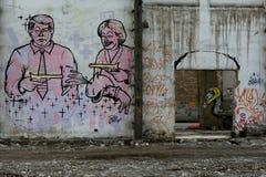 El arte en la pared subió Imagen de archivo