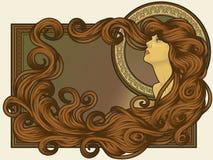 El arte Nouveau labró la cara de la mujer con el pelo largo Foto de archivo libre de regalías