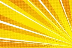El arte pop amarillo-naranja irradia salida del sol ilustración del vector
