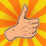 El arte pop del vintage tiene gusto Redes positivas de un social del gesturein Manosee con los dedos para arriba en estilo retro  Foto de archivo libre de regalías