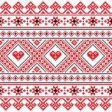 El arte popular tradicional hizo punto el modelo rojo del bordado de Ucrania Imagen de archivo libre de regalías