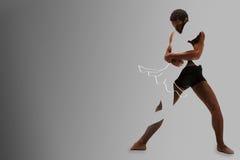 El arte y la imagen abstracta de los bailarines de ballet de los pares sobre fondo gris Fotografía de archivo libre de regalías
