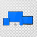 El artilugio instaló falso Dispositivos realistas ordenador portátil y monitor, teléfono móvil y tableta para su bandera y presen ilustración del vector