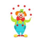 El artista In Classic Outfit del payaso de circo con la nariz roja y compone la ejecución del truco que hace juegos malabares par stock de ilustración