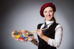 El artista de la mujer en concepto del arte fotografía de archivo libre de regalías