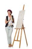 El artista de la mujer en el blanco imagen de archivo libre de regalías