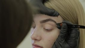 El artista de maquillaje despluma las cejas de una chica joven en un salón de belleza almacen de video