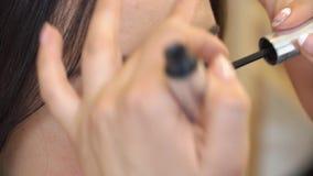 El artista de maquillaje pinta las cejas del modelo en el estudio, primer metrajes