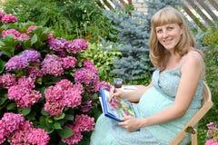 El artista de sexo femenino embarazada joven dibuja las pinturas del color de agua una hortensia floreciente Fotos de archivo