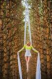 El artista de trapecio hermoso y agraciado realiza ejercicios en la seda aérea Imagenes de archivo
