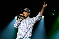 El artista de una discográfica del hip-hop de Kendrick Lamar American se realiza en el sonido de Heineken Primavera Imagenes de archivo