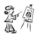 El artista divertido dibuja la naturaleza, el cepillo y el caballete libre illustration