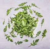 El arugula de la hierba jerarquizó círculos en una opinión superior del fondo de madera blanco Imagen de archivo