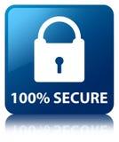 el 100% asegura el botón cuadrado azul Foto de archivo