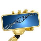El asimiento robótico de la mano 3d una placa con los strends de la DNA Fotos de archivo libres de regalías